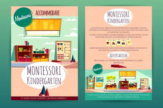 Vector brochures with Montessori kindergarten for children