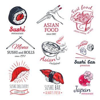 Asian Food Sketch Badges Set