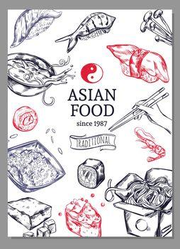Asian Cuisine Sketch Poster