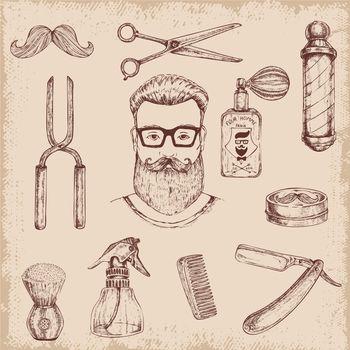 Hand Drawn Barber Elements