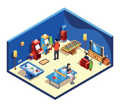 Vector isometric people at recreation room