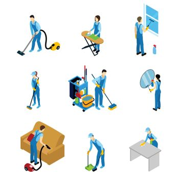 Professional Cleaners Isometric Icons Set