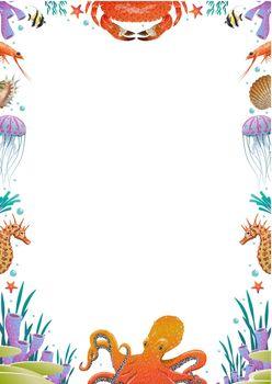 Colorful Cartoon Sea Fauna Template