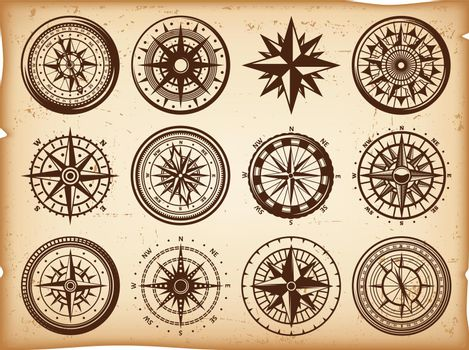 Vintage Nautical Compasses Icons Set