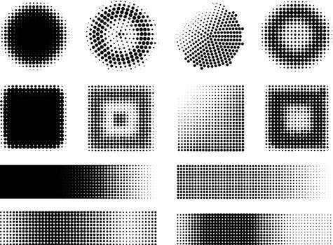 Monochrome Halftone Effects Design Elements Set