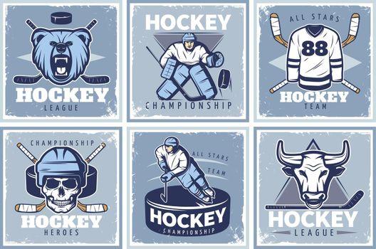 Hockey League Posters Set
