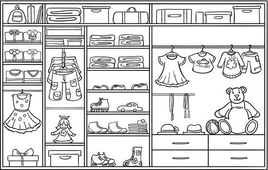 Doodle Monochrome Children Wardrobe Concept