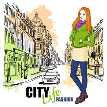 Sketch Fashion City Street Poster