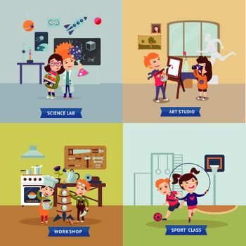 Children Hobbies Square Concept