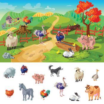 Cartoon Farm Animals Illustration