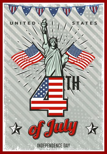 Colored Vintage Independence Day Poster