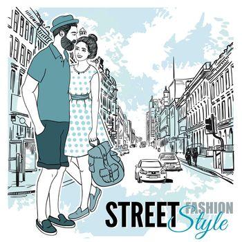 Couple Fashion City Street Poster