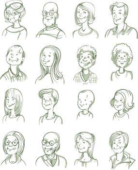 Hand Drawn Portraits Set