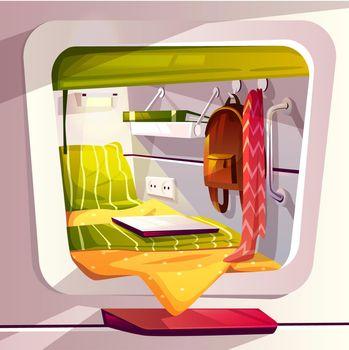 Capsule hotel or pod hostel vector illustration