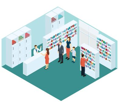 Colorful Isometric Pharmacy Concept