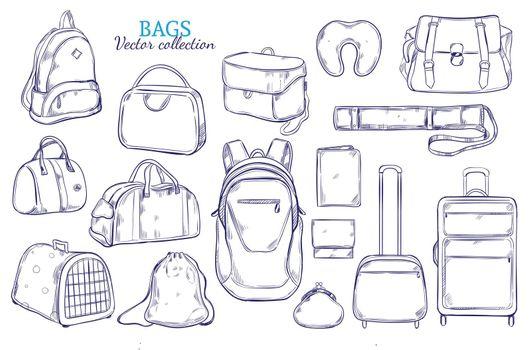 Hand Drawn Travel Luggage Set