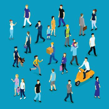 People In Crowd Isometric Collection