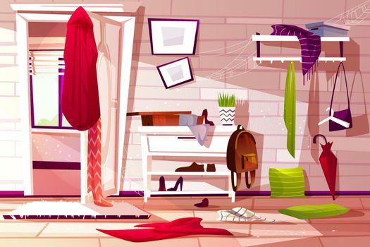 Hallway room messy interior vector illustration