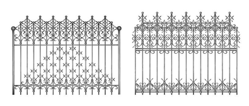 Metal fencing in retro style realistic vector