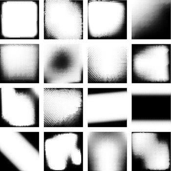 Monochrome Halftone Effects Design Backgrounds Set