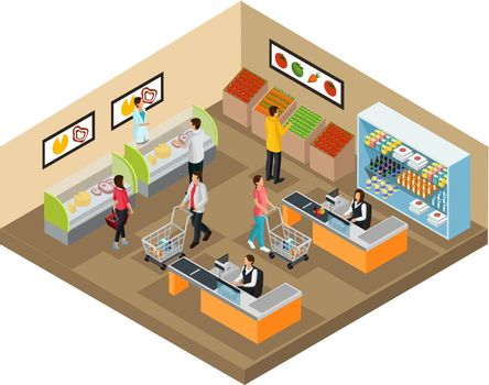 Isometric Grocery Shop Concept