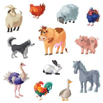 Cartoon Farm Animals Set