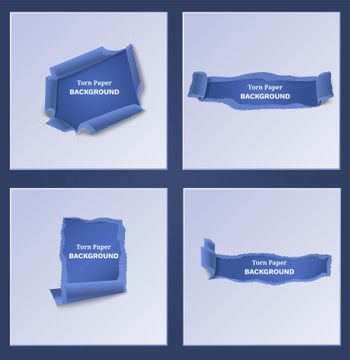 Blue Torn And Ripped Paper Templates