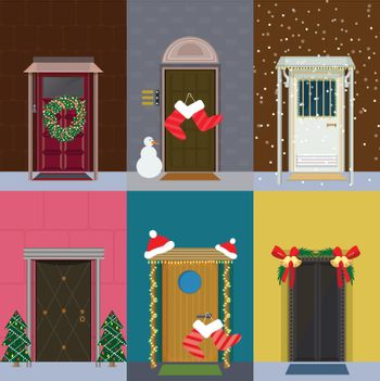 Flat Christmas Entrance Doors Set