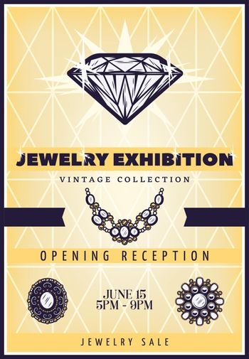Vintage Beautiful Jewelry Exhibition Poster