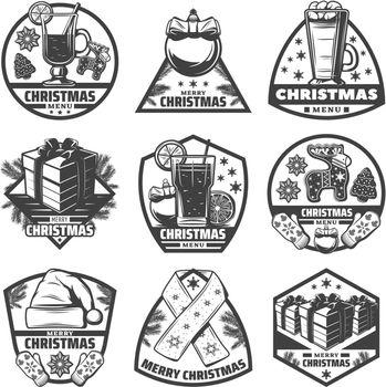 Vintage Monochrome Christmas Menu Labels Set