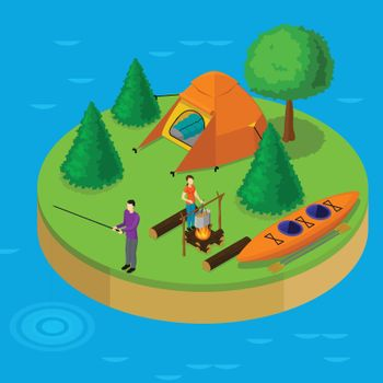 Isometric Water Active Recreation Concept