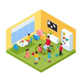 Isometric Children In Kindergarten Concept