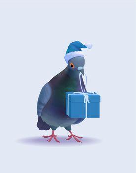 Christmas Santa Pigeon