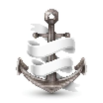 Anchor With Ribbon 3d Design