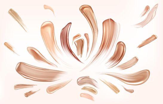 Skin foundation smear brush strokes beauty makeup