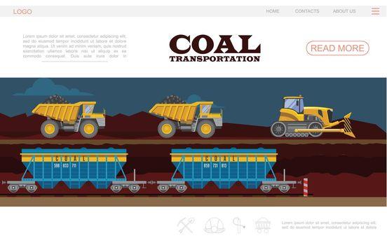 Flat Coal Transportation Landing Page Template
