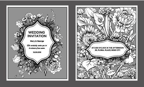 Vintage Floral Wedding Invitation Cards