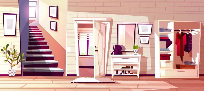 Hallway room interior vector illustration