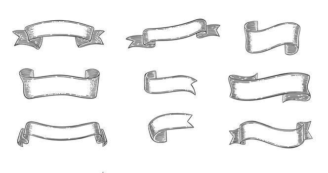 Engraving Elegant Ribbons Set