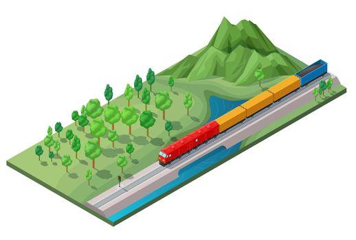 Isometric Railway Logistic Transportation Concept