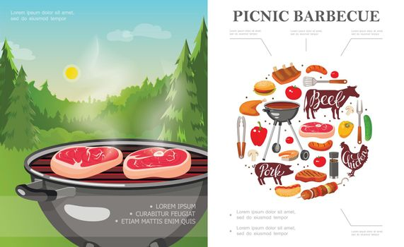 Flat Weekend Picnic Concept
