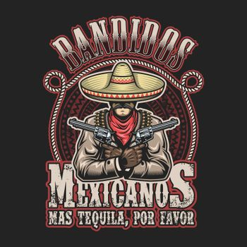 Vector illustrtion of mexican bandit print template