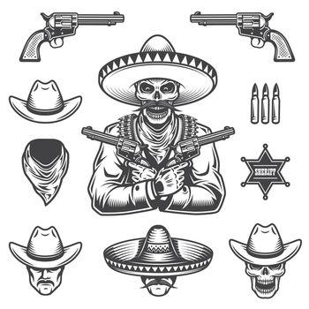 Set of sheriff and bandit elements.