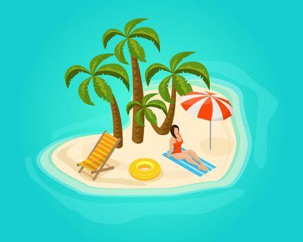 Isometric Island Vacation Concept