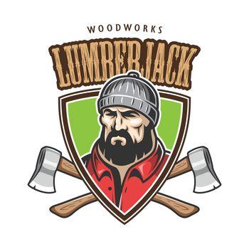Vector illustration of lumberjack emblem