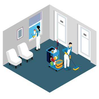 Professional Cleaning Isometric Design