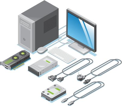 Isometric Computer Parts Collection