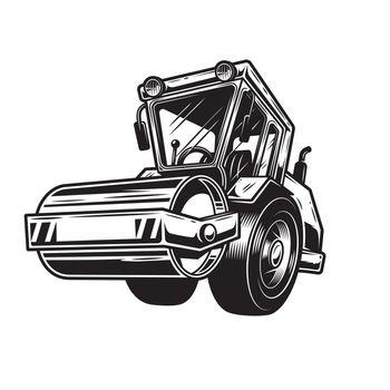 Vector illustration of steamroller