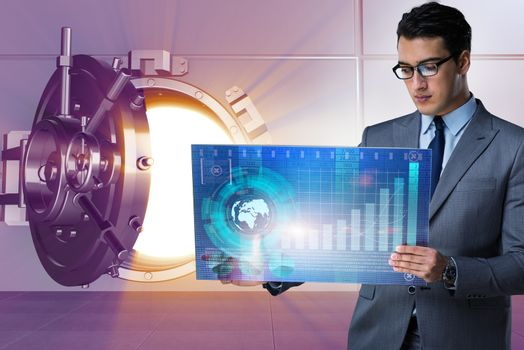 Businessman with touchscreen in financial banking concept