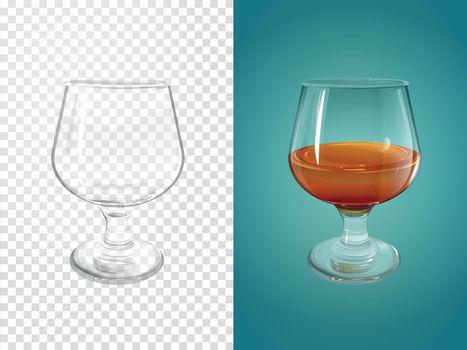 Cognac glass vector illustration realistic crockery